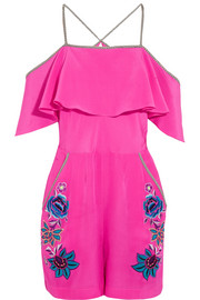 Sakura Floral embroidered silk playsuit