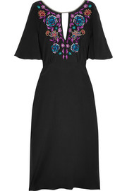 Sakura embroidered silk crepe de chine midi dress