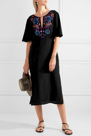 Matthew Williamson Sakura embroidered silk crepe de chine midi dress