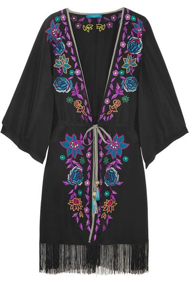 Matthew Williamson - Sakura Embroidered Crepe De Chine Kimono - Black
