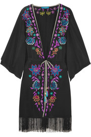 Matthew Williamson Sakura embroidered crepe de chine kimono