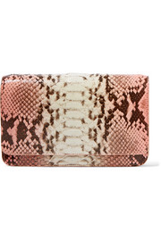 Nancy Gonzalez Crocodile-trimmed python clutch