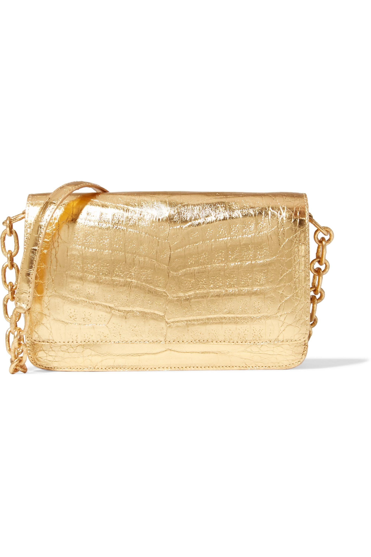 Nancy Gonzalez Metallic crocodile clutch