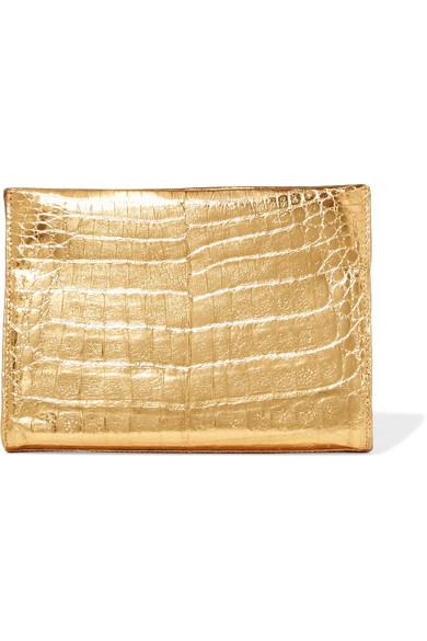 Nancy Gonzalez - Metallic Crocodile Clutch - Gold