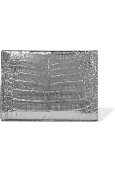 Nancy Gonzalez - Metallic Crocodile Clutch - Silver