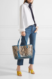 Crocodile-trimmed python tote