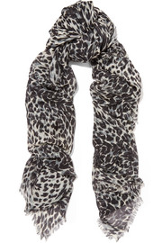 Saint Laurent Leopard-print cashmere and silk-blend scarf