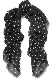 Polka-dot cashmere and silk-blend scarf