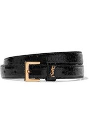 Saint Laurent Embellished glossed croc-effect leather belt