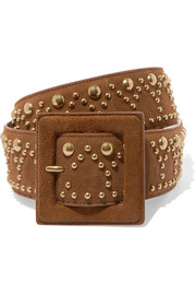 Studded suede belt