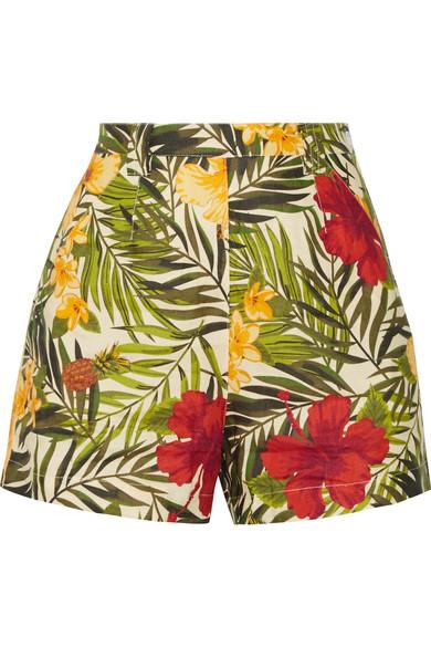 Miguelina - Joone Printed Linen Shorts - Army green