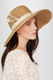 Carmen feather-trimmed woven paper hat