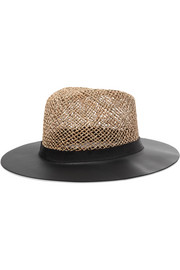 James leather and woven straw sunhat