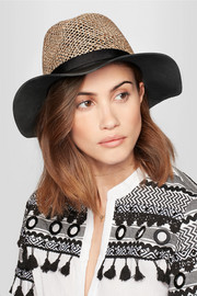 Eugenia Kim James leather and woven straw sunhat