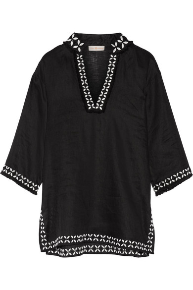 f658497c060758 Tory Burch. Embellished embroidered linen tunic