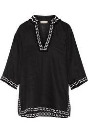 Tory Burch Embellished embroidered linen tunic