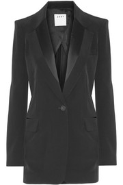 Satin-trimmed faille blazer