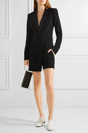 Ribbed-knit paneled stretch-crepe playsuit