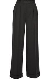 Pleated stretch-twill wide-leg pants