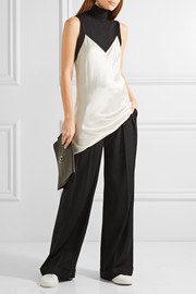 DKNY Pleated stretch-twill wide-leg pants