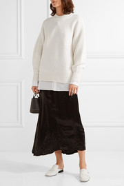 DKNY Oversized pointelle-trimmed merino wool-blend sweater
