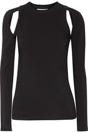 Cutout stretch-cotton jersey top