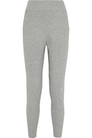 Ribbed cotton-blend track pants