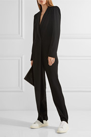 DKNY Ribbed-knit paneled stretch-crepe jumpsuit
