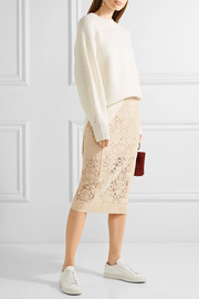 Flocked lace pencil skirt