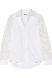 DKNY Paneled lace and cotton-poplin shirt
