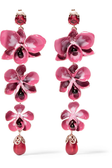 Etro - Gold-plated, Enamel, Resin And Crystal Earrings - Pink