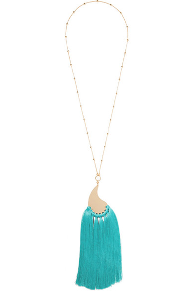 Etro - Gold-tone, Tassel And Stone Necklace - one size