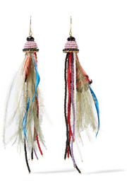 Etro Bead and feather earrings