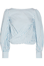 Bahia open-back striped cotton-poplin wrap top