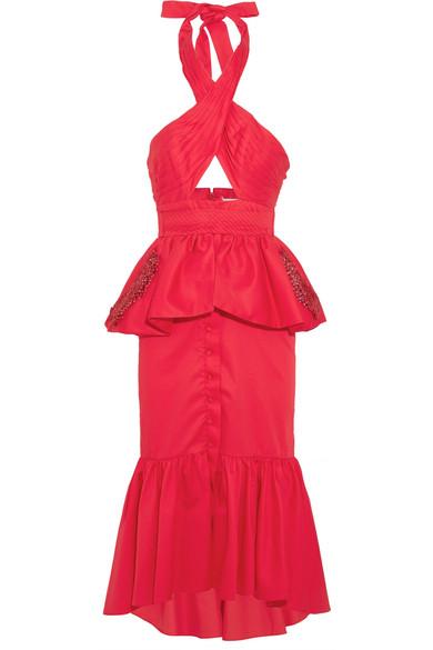 Johanna Ortiz - Antillana Cutout Ruffled Cotton Halterneck Midi Dress - Red