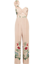 Johanna Ortiz Marmara one-shoulder ruffled printed silk jumpsuit