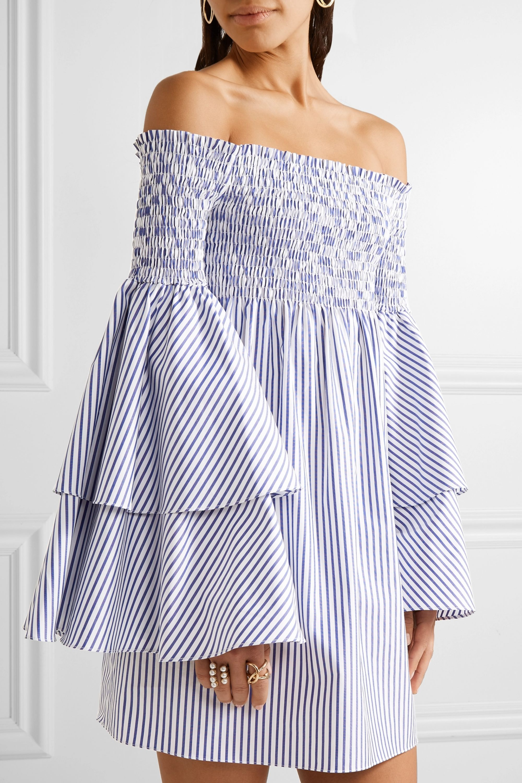 Caroline Constas Apollonia off-the-shoulder smocked striped cotton-poplin mini dress