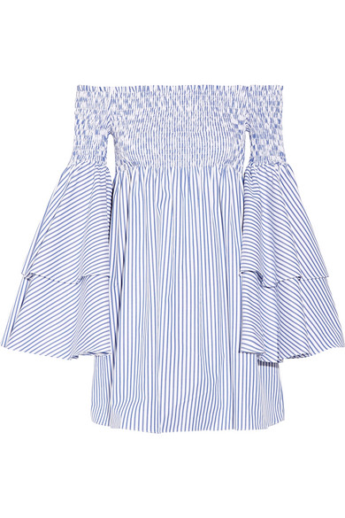 Apollonia off-the-shoulder smocked striped cotton-poplin mini dress