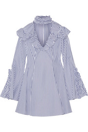 Caroline Constas Micki ruffled striped cotton Oxford mini dress