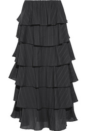 Caroline Constas Margi picot-trimmed tiered cotton-voile midi skirt