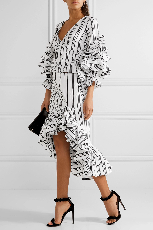 Caroline Constas Ruffled striped stretch cotton-blend skirt