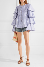 Nina ruffled striped cotton Oxford jacket