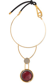 Gold-tone, resin, horn and leather necklace