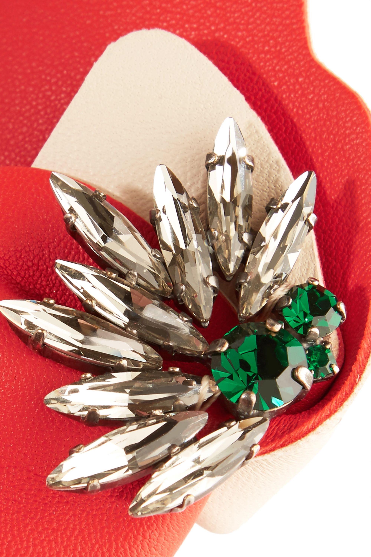 Marni Brosche aus Leder mit Kristallen