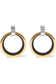 Marni Gold and silver-tone enamel clip earrings