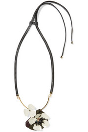 Marni Gold-tone, crystal, leather and resin necklace