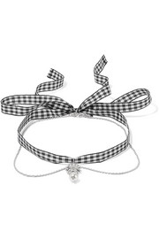 Gingham cotton, silver-tone, crystal and faux pearl necklace