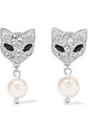Silver, Swarovski crystal and faux pearl earrings