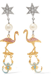 Miu Miu Gold and silver-plated, faux pearl and crystal clip earrings