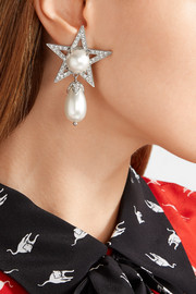 Miu Miu Silver-plated, Swarovski crystal and faux pearl clip earrings